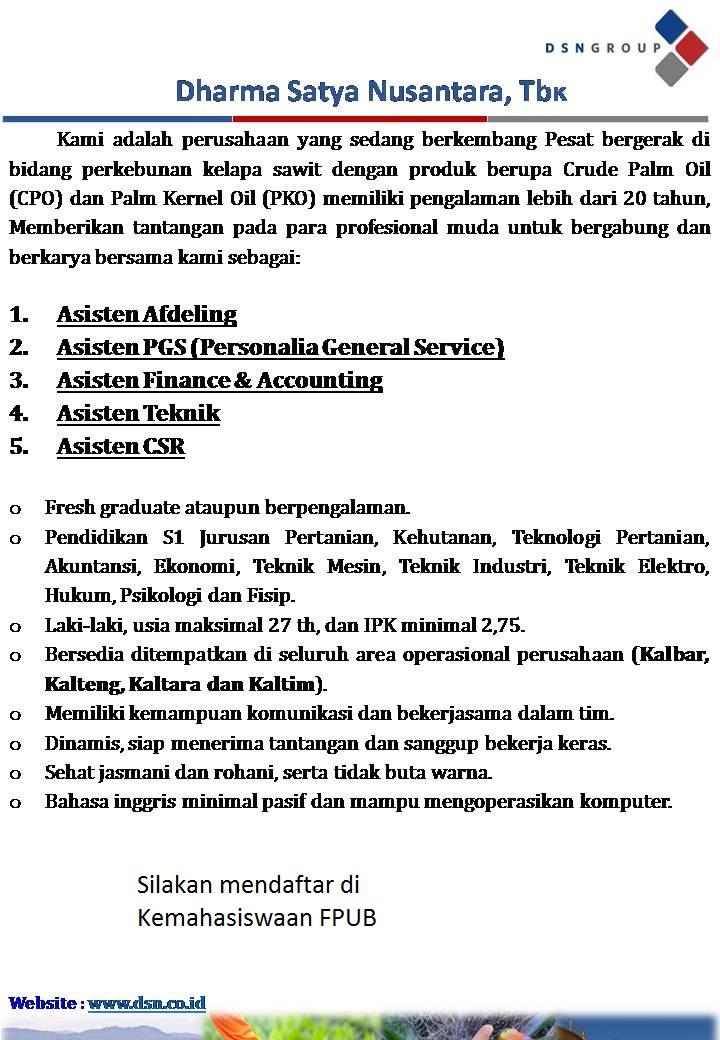 Lowongan Kerja Dharma Satya Nusantara Fakultas Pertanian
